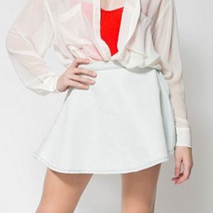 American apparel light wash circle denim skirt